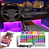 LED Interior Car Lights,App Controlled Car Interior Lights with USB Port, Multicolor Car LED Lights Interior as Ambient Lights, Music Sync Interior LED Lights for Cars With Sound Active Function