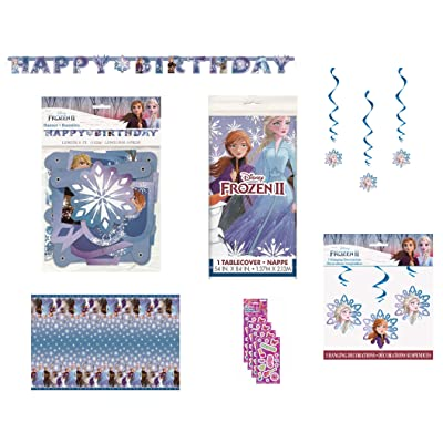 Frozen 2 Birthday Party Supplies Bundle Decoration Set includes - Banner, Table Cover, Hanging Swirl Decorations, Stickers: Toys & Games