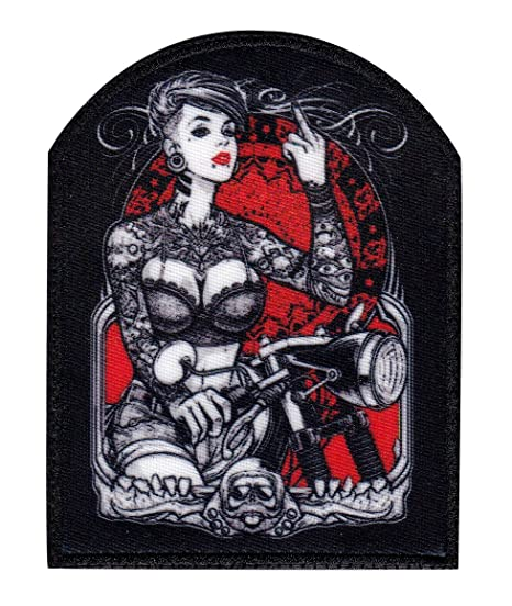 87722d5cc Amazon.com: Sexy Tattoo Girl Biker Finger Motorcycle Sew On Glue ...