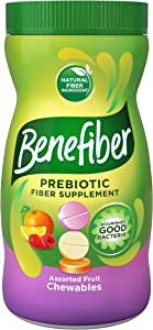 Benefiber Daily Prebiotic Fiber Supplement, Chewable Tablet for Digestive Health, Assorted Fruit, Sugar Free, 100 Count