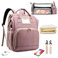 Baby Diaper Bag Expandable Crib, Travel Mommy Bag Organizer with Changing Bed, Large Capacity Baby Bassinet Nappy Backpack with with Changing Station/USB Port/Headphone Hole (Pink)