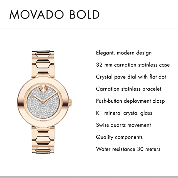 Amazon.com: Movado Womens Bold T-Bar Carnation Watch with a Flat Dot Crystal Dial, Pink (Model 3600493): Watches