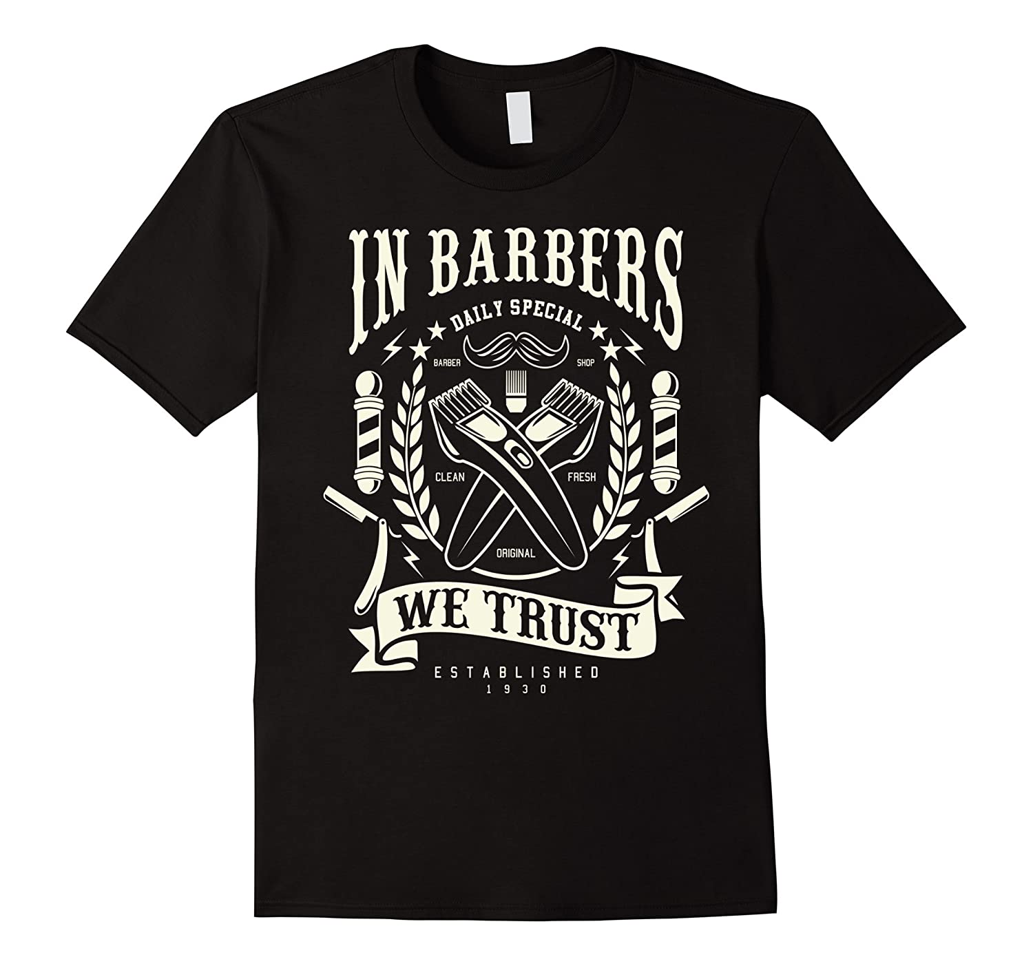 Barbers Retro Distressed Clippers and Straight Razor T-Shirt-CD