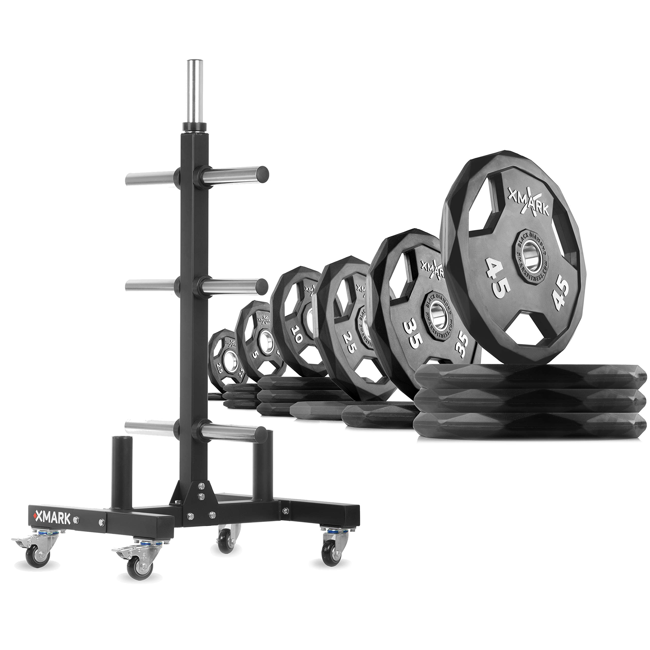 XMark XM-9055 Commerical Olympic Weight Tree Plus a 365 lb Set of Black Diamond Olympic Plates by XMark