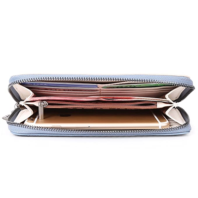5ea9cf434877 Angel Kiss Women's RFID Blocking Washed PU Soft Leather Wallet Card ...