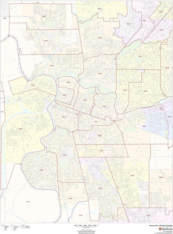 Zip Code Map Sacramento Amazon.: Sacramento, California Zip Codes   36
