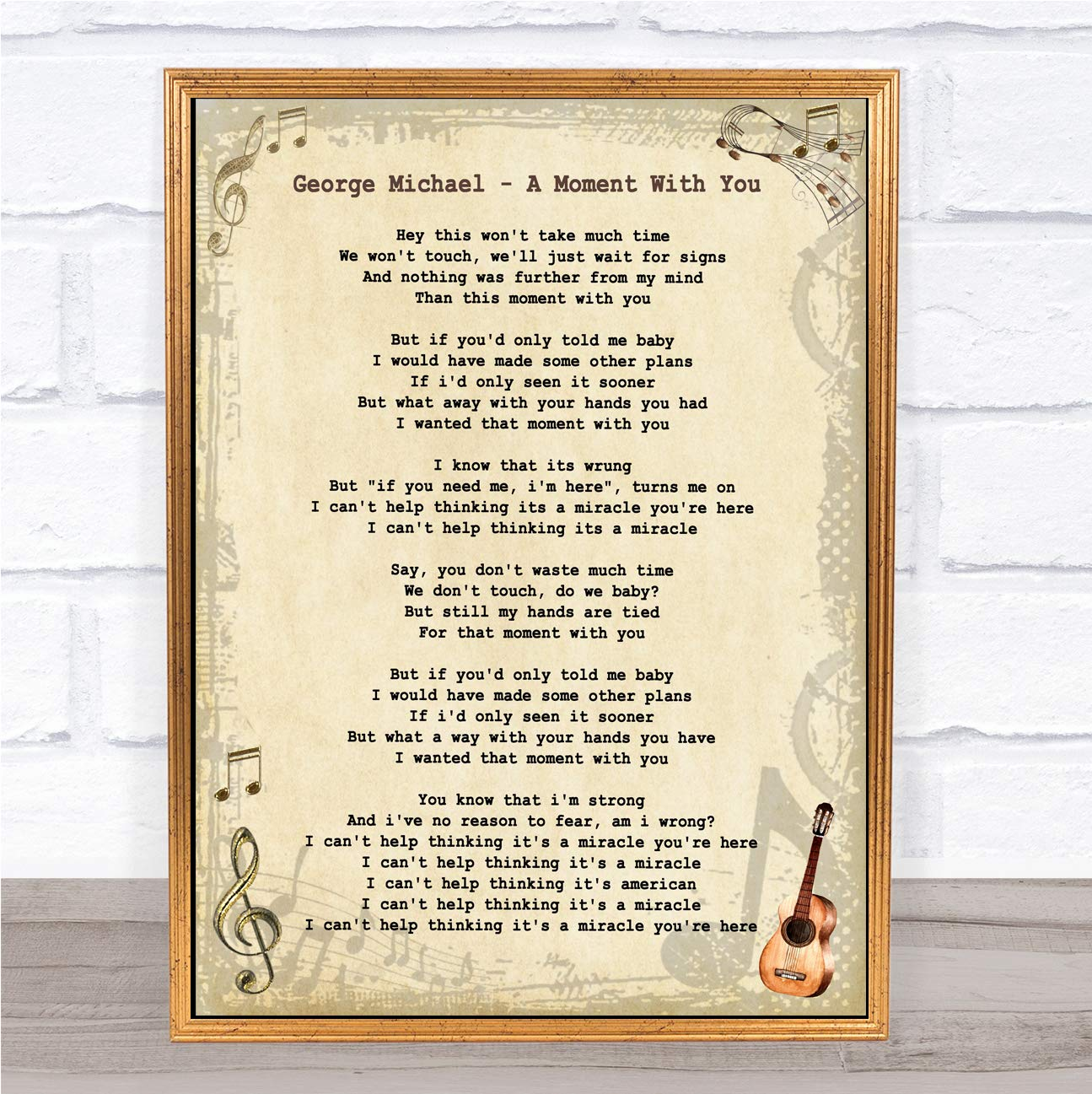 Amazon com : A Moment with You Vintage Guitar Song Lyric