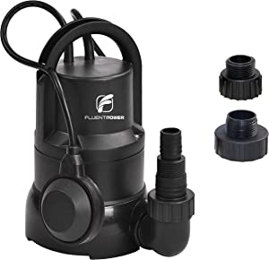 "FLUENTPOWER 1/3 HP Electric Submersible Small Utility Drain Water Pump 3/4"" Garden Hose Connector Included with Side Discharge for Clean Water"