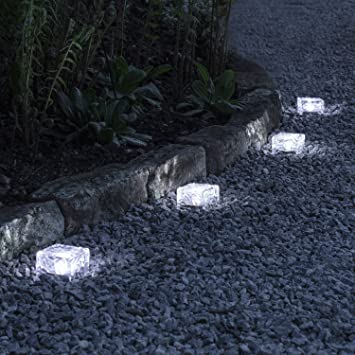 Häufig Lights4fun 4er Set LED Solar Glas Pflastersteine Wegbeleuchtung TL17