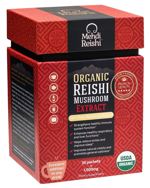 Organic Reishi Mushroom Extract Powder by Mehdi Reishi– 30 Servings, 1,000mg–100% Pure, Authentic and Organic Medicinal Powders –Ganoderma Lucidum, Lingzhi – Beta Glucan 20%+ Potency