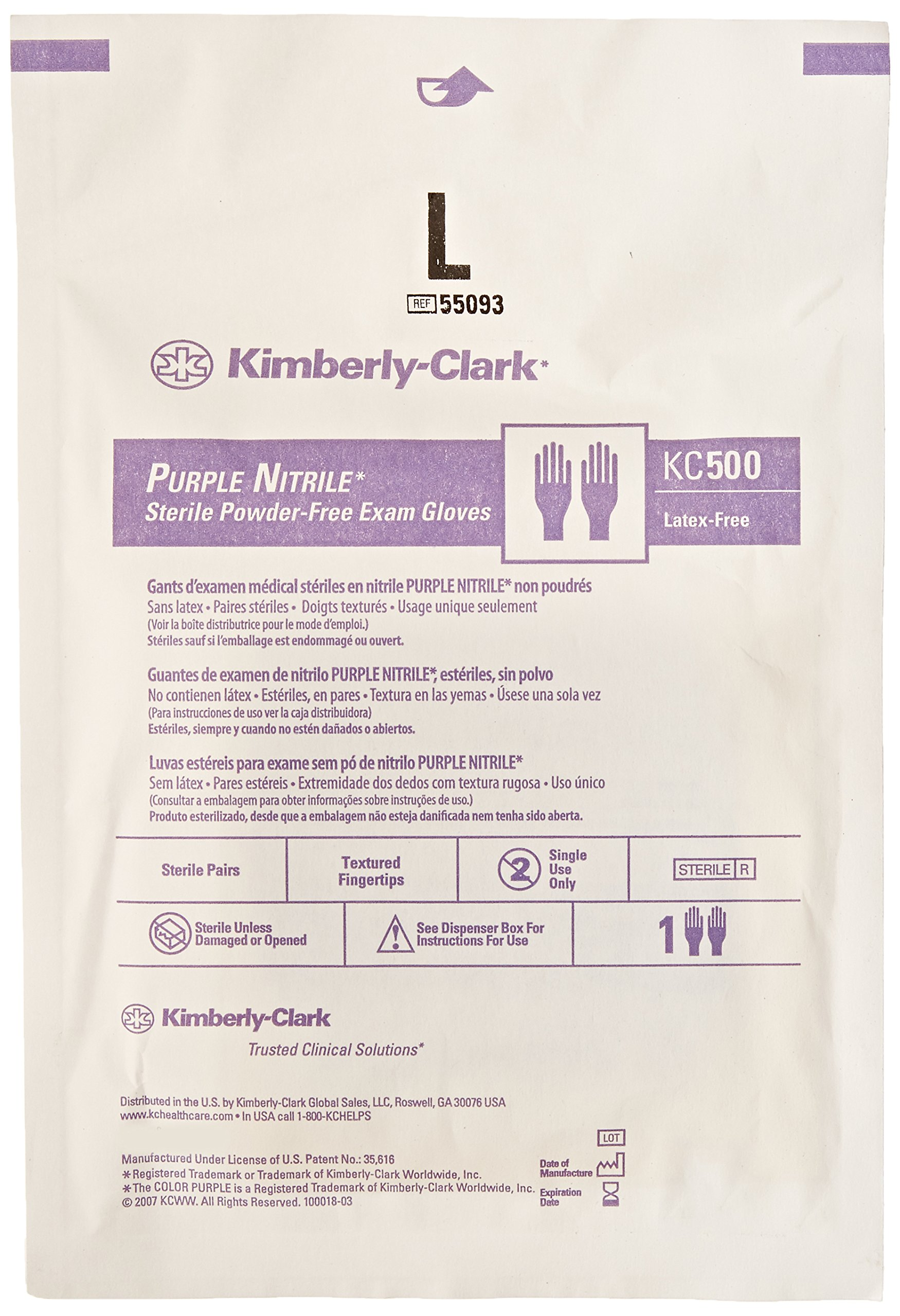 Kimberly Clark Safety 55093 Purple Nitrile Exam Glove, Sterile Pairs, Large (Pack of 50) by Kimberly Clark Safety