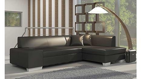 JUSThome Sofá de esquina «Fabio» sofá cama canapé de piel ecológica (AxLxAn.): 73 x 268 x 167 cm, negro, Langle droit face au canapé