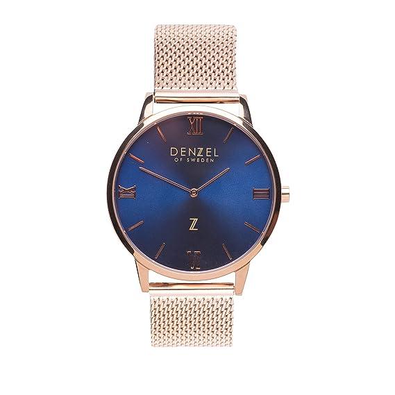 Melbourne L DS003 - Reloj de Pulsera para Mujer (Esfera Azul, Correa de Malla), Color Rosa: Amazon.es: Relojes