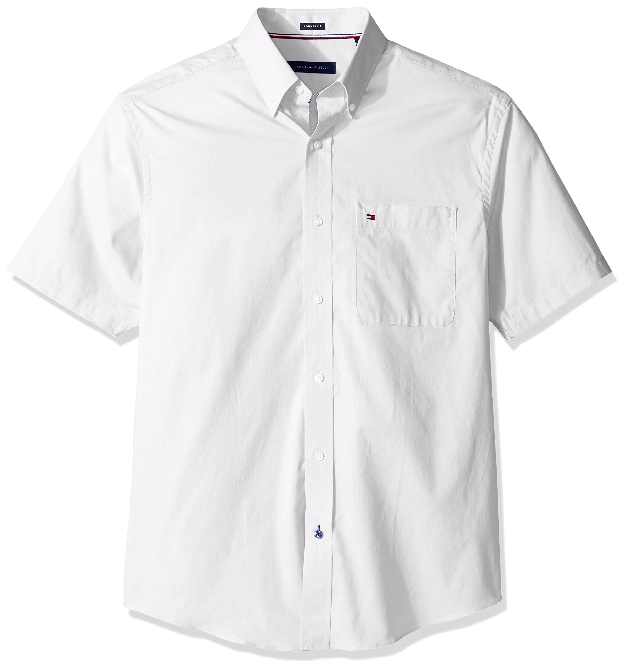 Tommy Hilfiger Men's Big and Tall Short Sleeve Button-Down Shirt, White, 18.5'' Neck by Tommy Hilfiger (Image #1)
