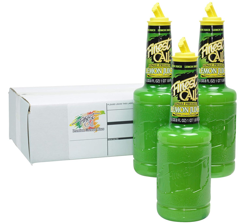 Finest Call Premium Single Pressed Lemon Juice Drink Mix, 1 Liter Bottle (33.8 Fl Oz), Pack of 3