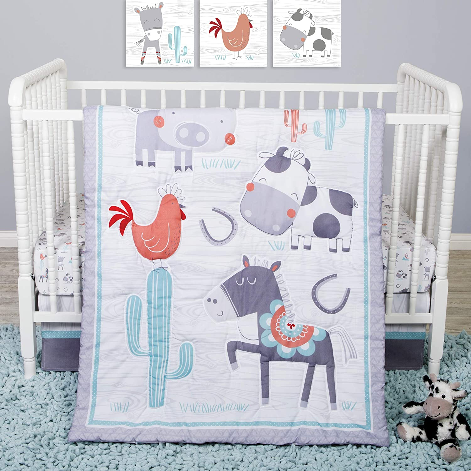 B07SGRQ31M Sammy & Lou Sammy And Lou Farmstead Friends 4 Piece Crib Bedding Set 81blm5f-R9L