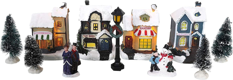 TOYLAND® Mini Christmas Village & Shop Scene Set con Luces LED - Decoraciones navideñas (Tiendas de 12 Piezas)