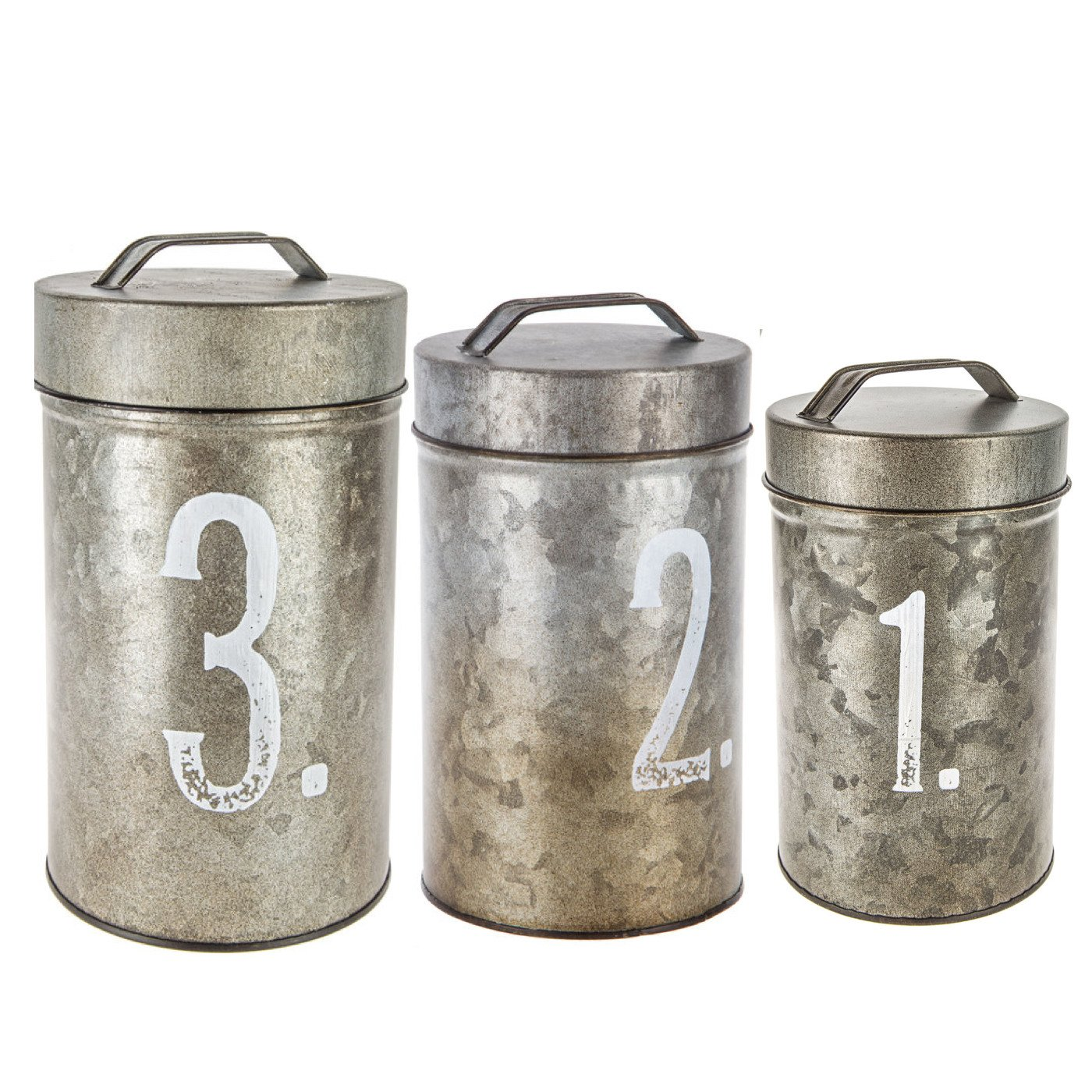 Numbered Galvanized Metal Canister Set of Three