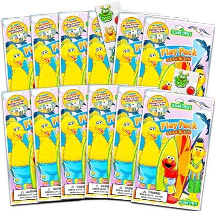 Amazon.com: Sesame Street Ultimate Party Favors For Toddlers Kids Bundle --  12 Sets With Stickers, Coloring Books, Crayons, And Bonus Stickers (Party  Supplies): Toys & Games