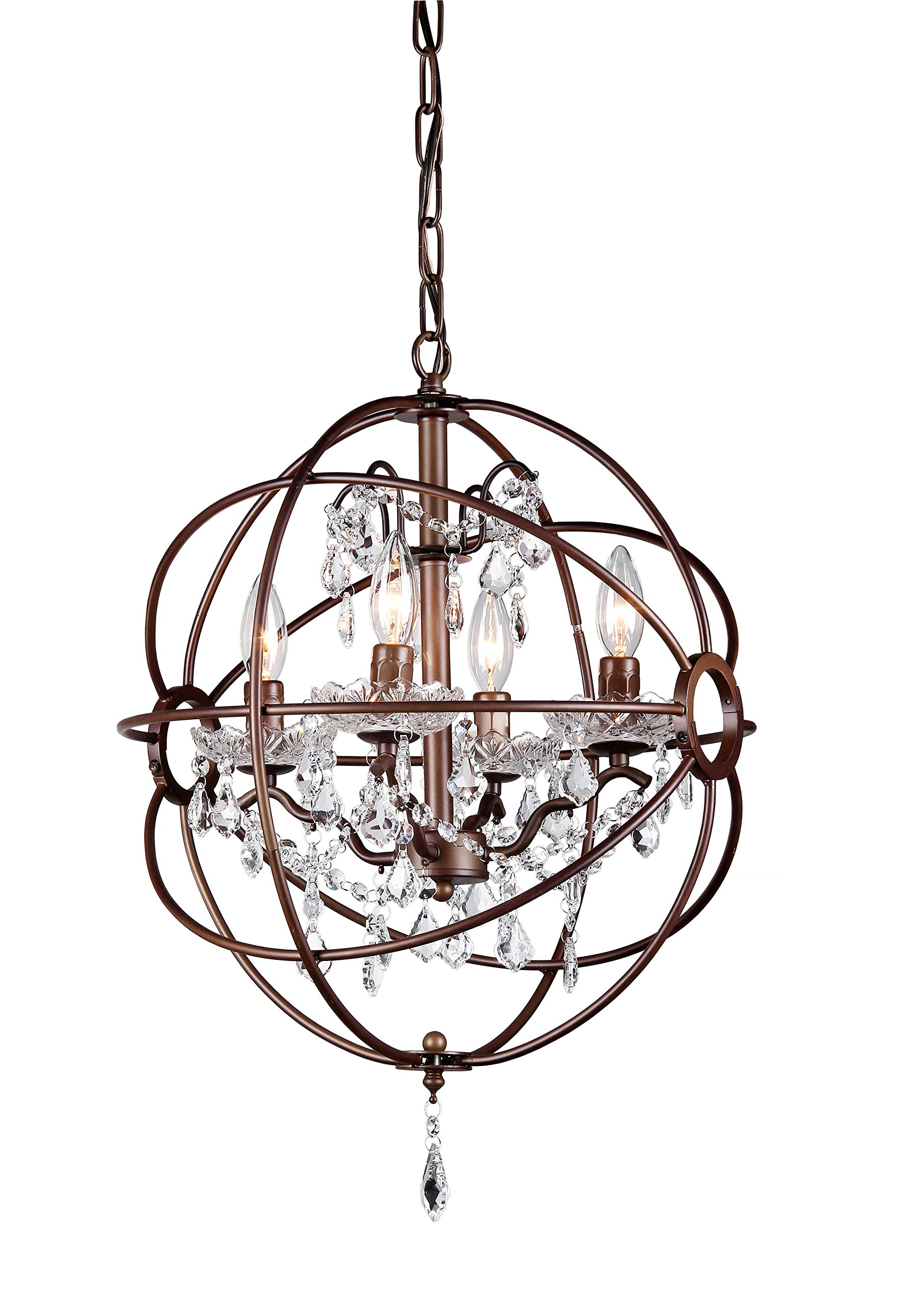 Whse of Tiffany RL8049-16AB Edwards Antique Bronze 16-Inch 5-Light Chandelier, White by Whse of Tiffany