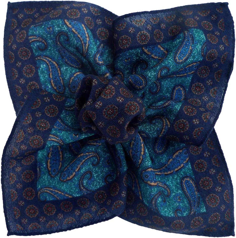 Bleu et Turquoise /à Paisley en Laine Segni /& Disegni Pochette de costume made in Italie