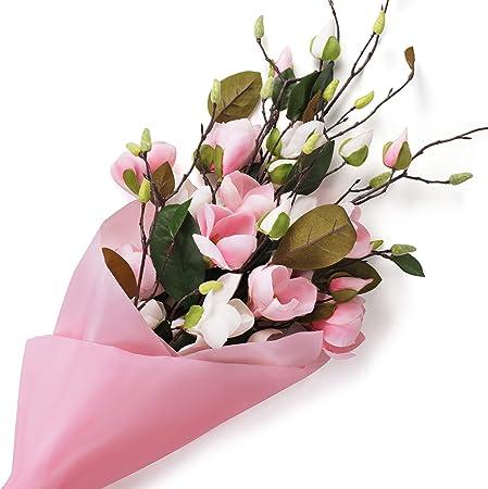 Fiori Bianchi Gambo Lungo.Magnolia Artificiale Fiori 4 Pezzi 2 Bianchi E 2 Rosa