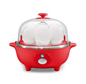 Elite Cuisine EGC-007R Easy Electric Egg Poacher, Omelet & Soft, Medium, Hard-Boiled Egg Cooker with Auto-Shut off, 7 Egg Capacity, Red