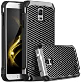 Galaxy Note 4 Case, Note 4 Case, Samsung Galaxy Note 4 Case, BENTOBEN 2 in 1 Hybrid Hard PC Soft TPU Bumper Carbon Fiber Texture Shockproof Protective Case for Samsung Galaxy Note 4, Gray/Black