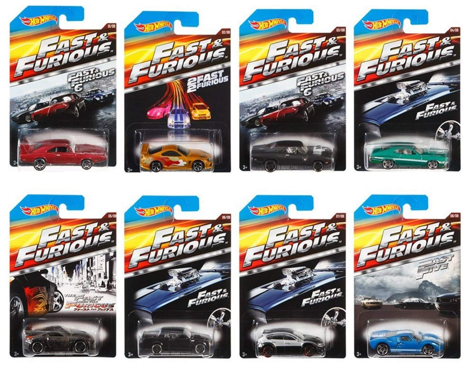 2015 Hot Wheels Fast & Furious - '69 Dodge Charger Daytona, 94 Toyota Supra, 70 Dodge Charger R/T, 72 Ford Grand Torino Sport, Nissan 350Z, Buick Grand National, Subaru, Ford Complete Set of 8