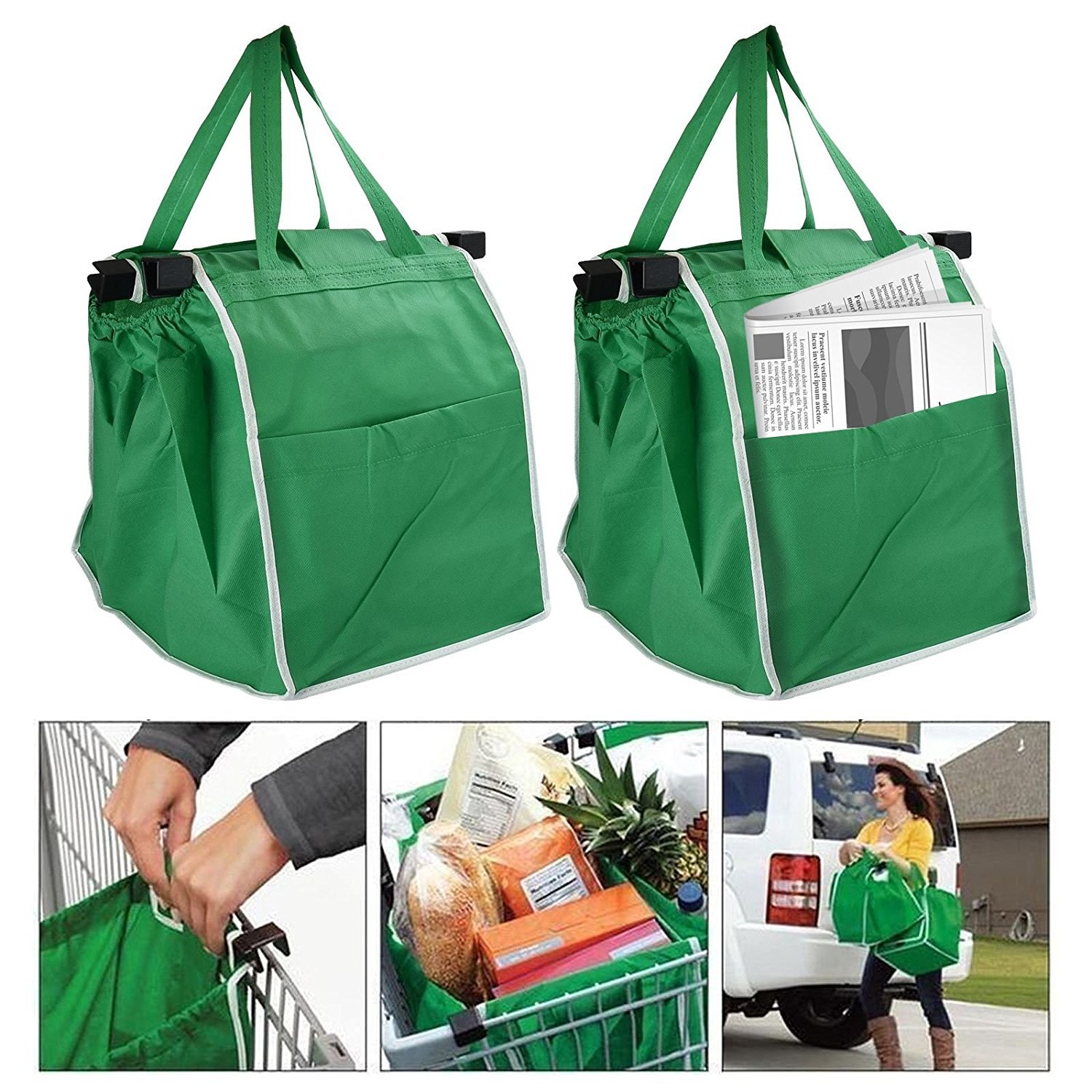 2 Pack Shopping Trolley Bags Eco Friendly Clip On Grocery Carrier Easily Folds Strong Durable Reusable Easy Clean Handy Side Pocket ASAB