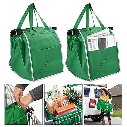 Juego de 2 bolsas para carro de la compra con broche y práctico bolsillo lateral. Bolsa para alimentos respetuosa con el medio ambiente, fácilmente ...