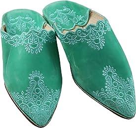 ChiCies Babouche Aus Marokko - Damen Hausschuhe/Schuhe Aus Leder-Samt, Handarbeit Aus Fes