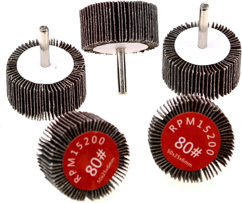5pcs Flap Wheel Disc Abrasive Wheel Sanding Disc Grinder Bits 80 Grit 50mm Diameter 6mm Shank for Drill