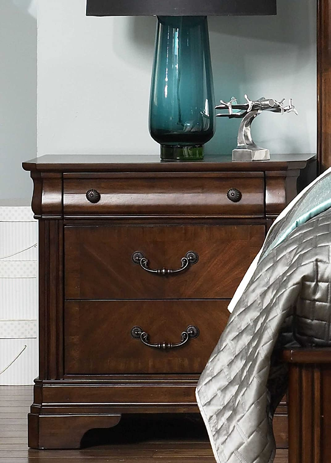 Liberty Furniture Nightstand with 3 Drawers in Brown