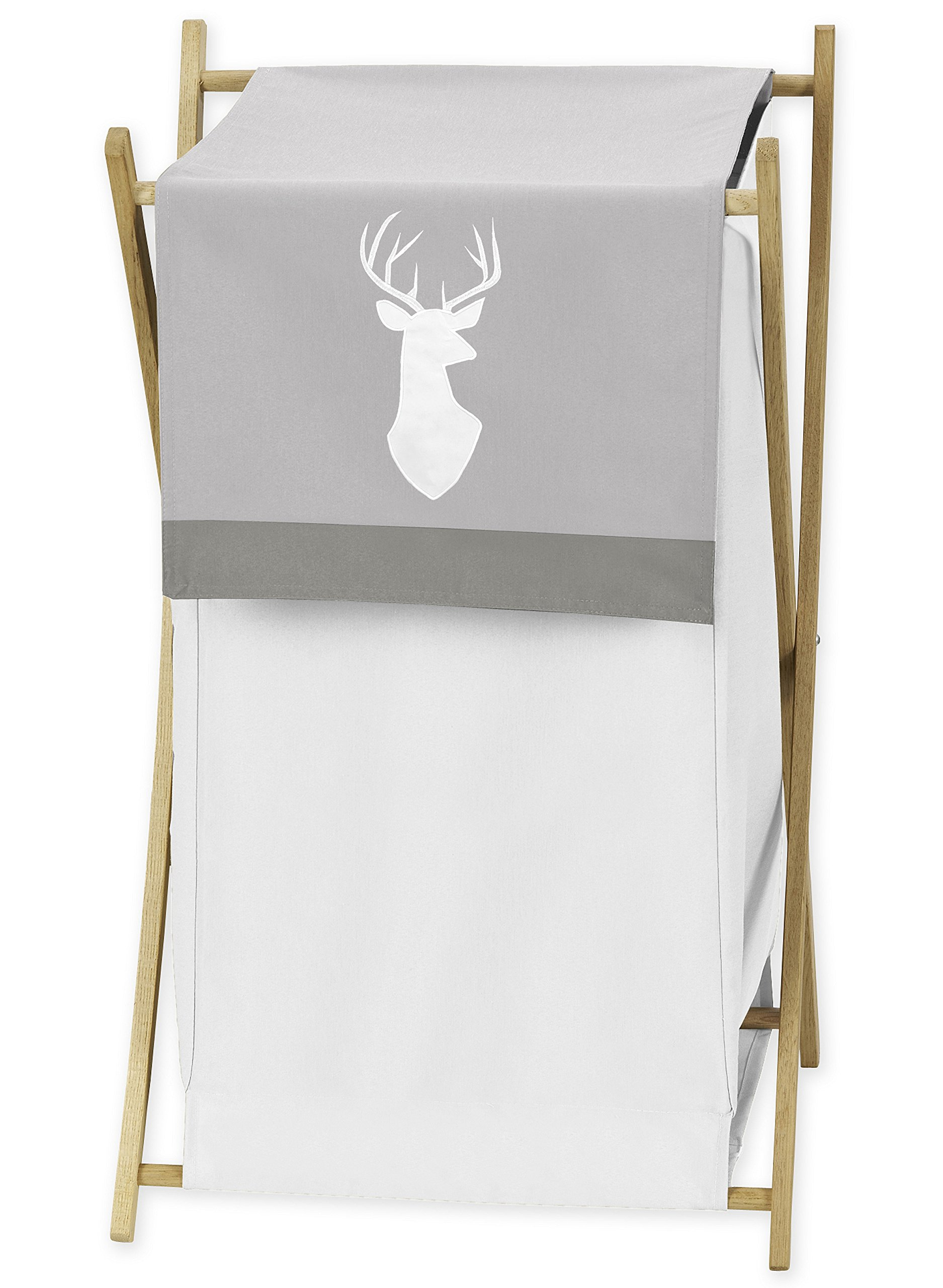 Sweet JoJo Designs Grey and White Deer Baby Kid Clothes Laundry Hamper for Woodsy Collection by
