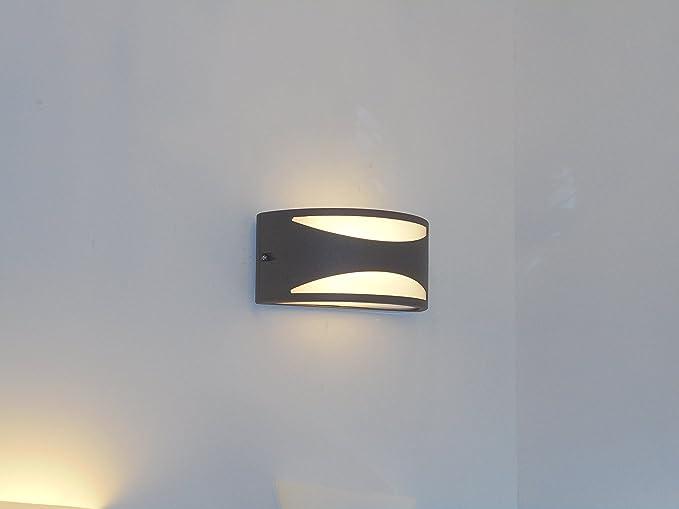 Applique Esterno Moderno : Applique mezzaluna moderna lampada da parete per esterno antacite