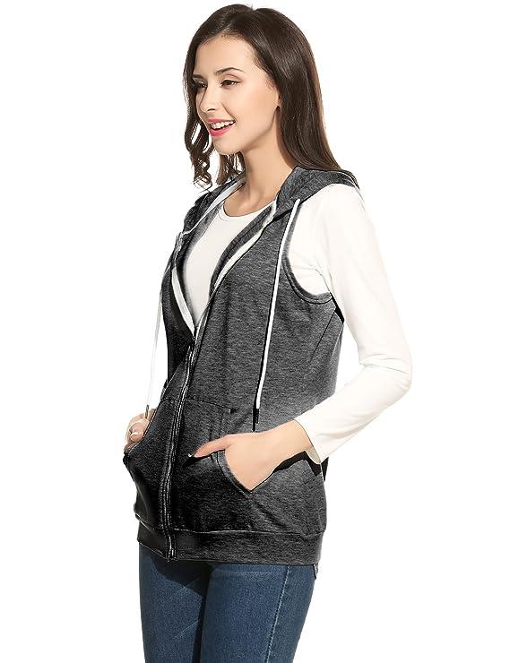 0cdea026f154bf ACEVOG Damen Weste mit Kapuze Ärmellos Jacke mit Taschen Reverskragen:  Amazon.de: Bekleidung