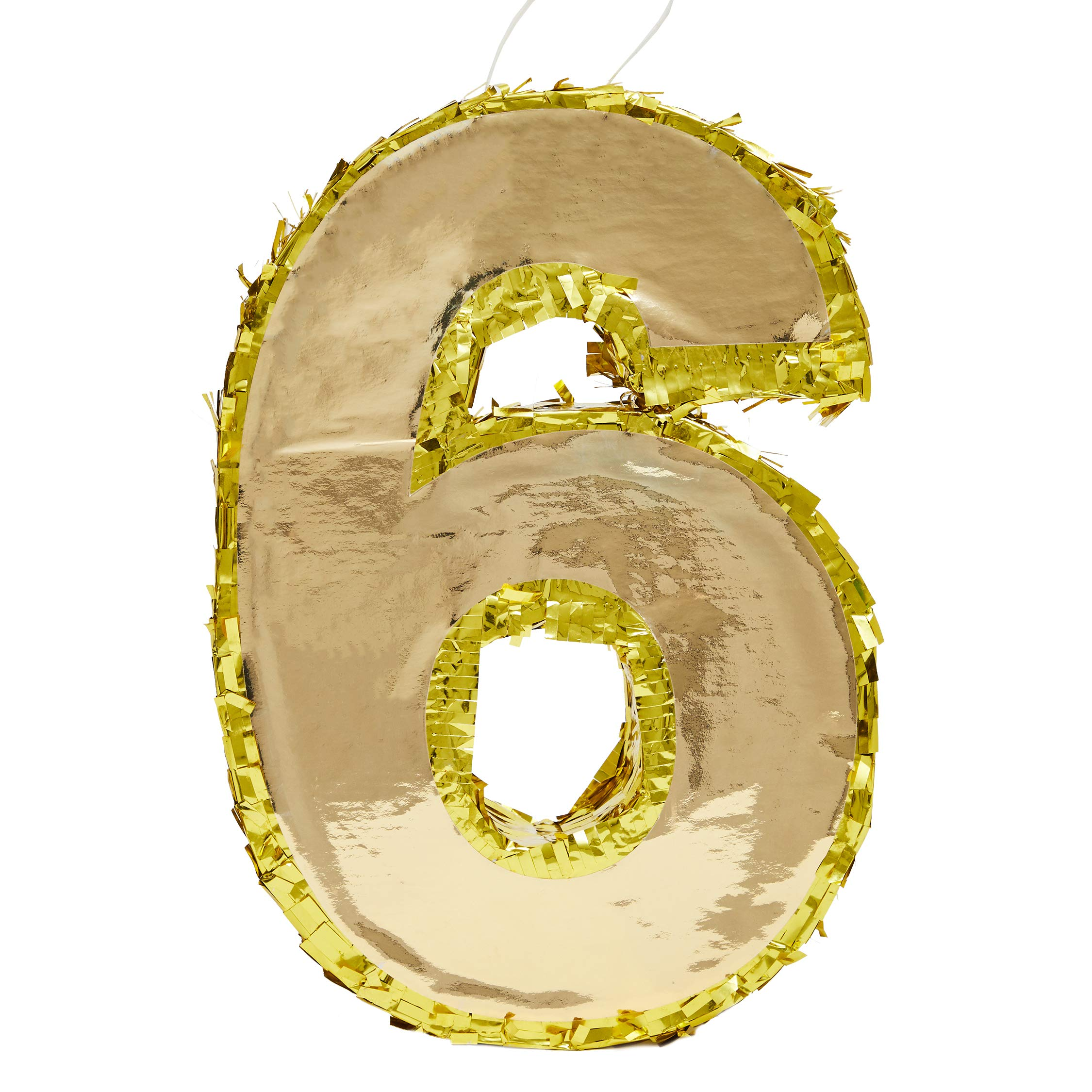 Juvale Small Number 6 Gold Foil Pinata, Sixth Birthday Party Supplies, 15.5 x 10.5 x 3 Inches by Juvale