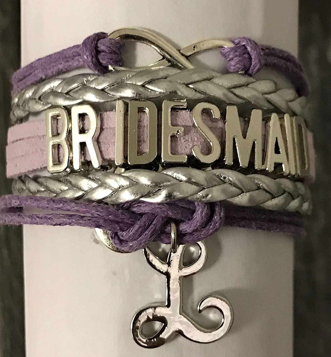 Personalized Purple Bridesmaid Bracelet with Initial Letter Charm Custom Bridesmaid Gifts Bridesmaid Jewelry-Makes the Perfect Gift For Bridesmaids