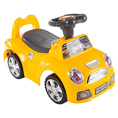 Lil' Rider Ride on Car- Toy Low Sitting Walking Car with Steering Wheel, Lights, Sounds, Music for Babies, Toddlers, Learning to Walk, Yellow (80-YF-17081365): Toys & Games
