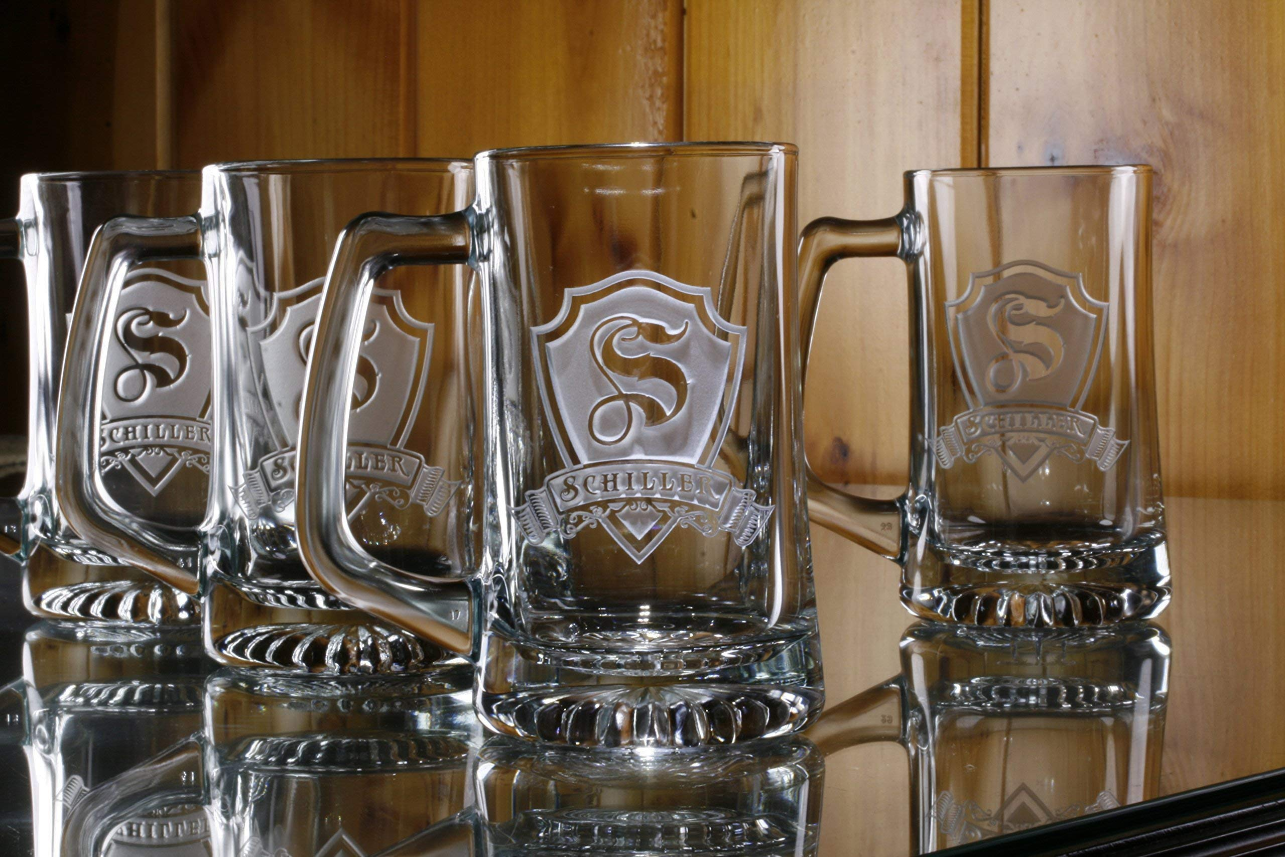 Personalized, monogrammed beer mugs SET OF 4 (M30)