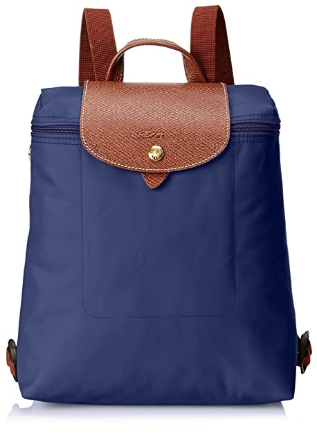 LongchampLe Pliage Backpack - Mochila Mujer, color azul, talla 23x40x55 cm (B x