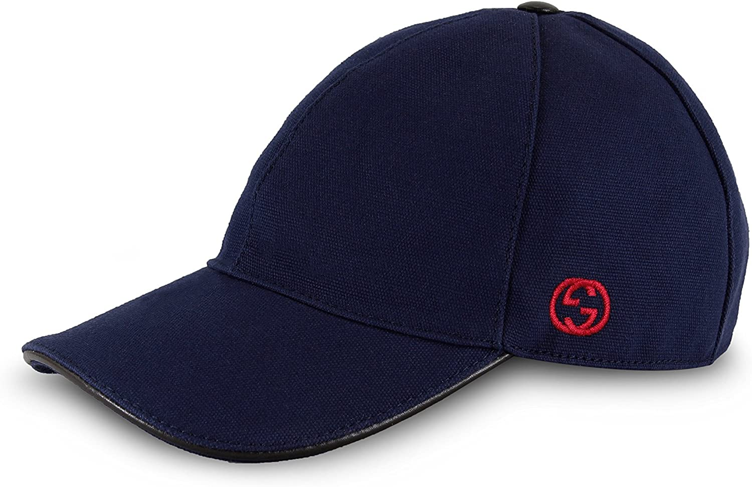 Image of Gucci Cotton Canvas with GG Detail Baseball Cap, Navy 387554