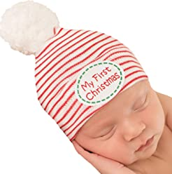 Melondipity My First Christmas Striped Hospital Hat with White White Pom Pom  - Newborn Christmas Hat 04708e3744d2