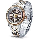 Time100 Orologio per Uomo Automatico e Vintage in Pelle di Vitello con la Cassa in Acciaio INOX Realizzato in mano Quadrante Scheledeato 3 Colori da Scegliere#W60055G