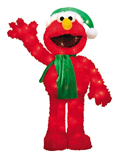 productworks 32 inch pre lit 3d sesame street waving elmo christmas yard decoration