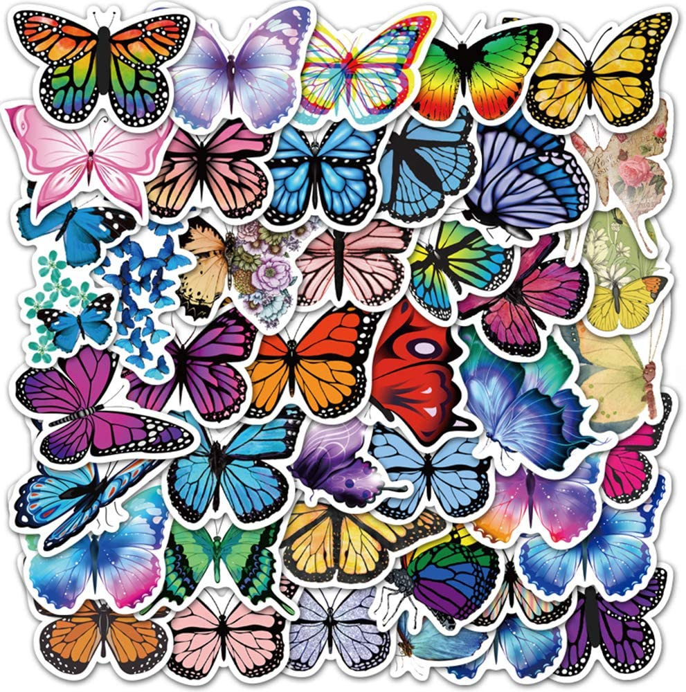 Butterfly Stickers| 50 PCS | Vinyl Waterproof Stickers for Laptop,Skateboard,Water Bottles,Computer,Phone,Small Butterfly,Blue Butterfly Stickers for Kids (Butterfly-50PCS)