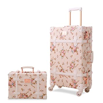 f33b04c88 Amazon.com: Vintage Floral Luggage Sets Pu Leather Suitcase Set Hand Bag  Spinner Carry On: Unitravel Official Store
