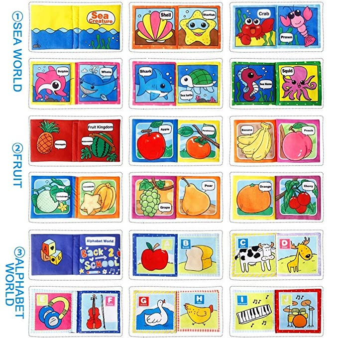 Crinkle Baby Soft Cloth Book, Non-Toxic Early Educational Toys, Baby Shower Gifts for Toddler Boys Girls, Pack of 6
