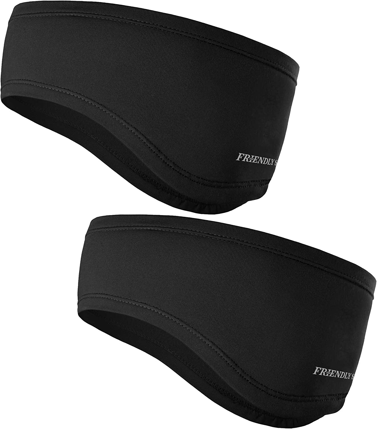 The Friendly Swede Running Headband Ear Warmer - 2-Pack, Sports Headband for Outdoors, Running, Cycling, Hiking - Ideal as Liner Under Helmets (Standard Black) : Clothing